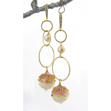Golden Pink Petals Earrings - gold pink ivory white lampwork  freshwater pearls swarovski crystals dangle lampwork artisan gold fill srajd cserpentDesigns