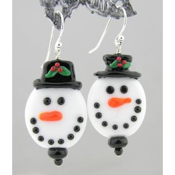 Snowman Face Earrings - white snowman lampwork dangle winter sterling silver Christmas handmade artisan srajd cserpentDesigns