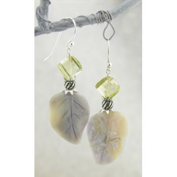 Leaves and Sunshine Earrings - handmade artisan carved agate leaves leaf sterling silver grey yellow lemon quartz gemstones srajd cserpentDesigns