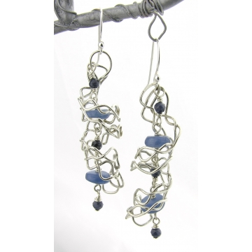 Mish Mesh Spirals and Blues Earrings - fused sterling silver filigree handmade kyanite blue sapphire artisan srajd cserpentDesigns
