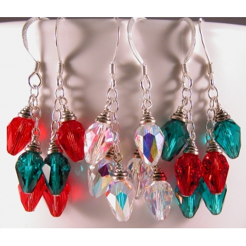Crystal Holiday Lights Earrings - clear sparkle drop sterling silver handmade red green Christmas artisan srajd cserpentDesigns