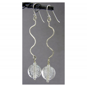 Silver Sparkle Earrings - clear sparkle drop sterling silver squiggle artisan srajd cserpentDesigns