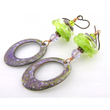 Lime and Purple Earrings - handmade artisan copper lime green purple enamel lampwork glass lavendar Swarovski crystals copper srajd cserpentDesigns
