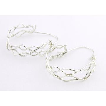 Mish Mesh Hoops Earrings - fused sterling silver filigree handmade artisan srajd cserpentDesigns