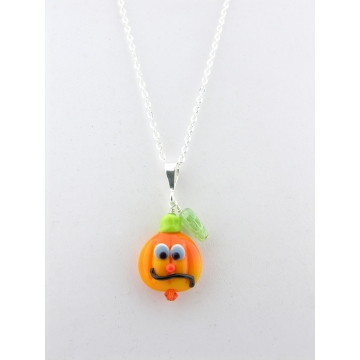 Pumpkin Face Necklace - orange green pumpkin lampwork sterling silver artisan srajd cserpentDesigns halloween
