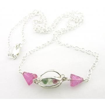 Caged Tourmaline Necklace - green pink handmade gemstone artisan srajd cserpentDesigns