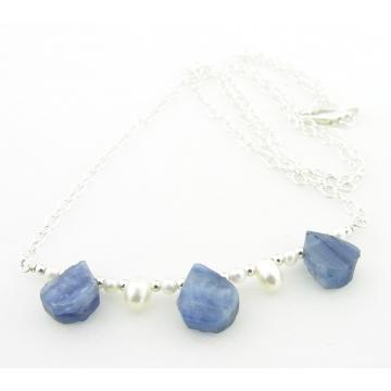 Kyanite and Pearls Necklace - blue white silver handmade freshwater pearls artisan srajd cserpentDesigns