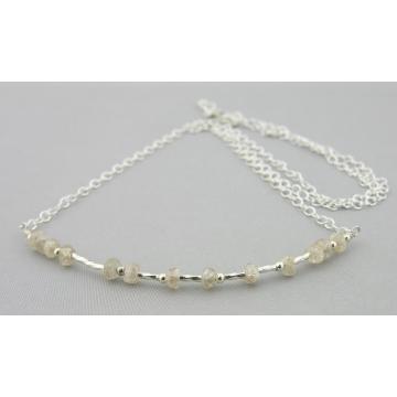 Sparkle Morse Code Necklace - natural brown zircon handmade sterling silver artisan srajd cserpentDesigns