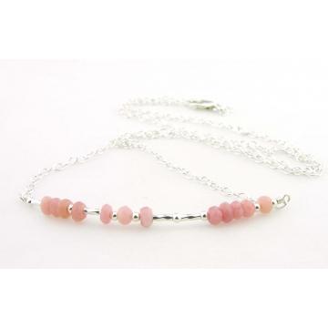 Breathe Morse Code Necklace - pink opal handmade sterling silver artisan srajd cserpentDesigns