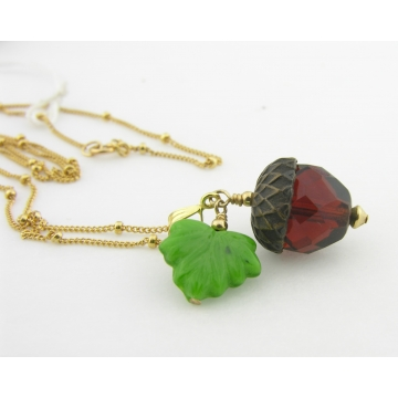 Brown Acorn Gold Necklace - dark brown green czech glass leaf handmade artisan gold fill fall autumn srajd cserpentDesigns