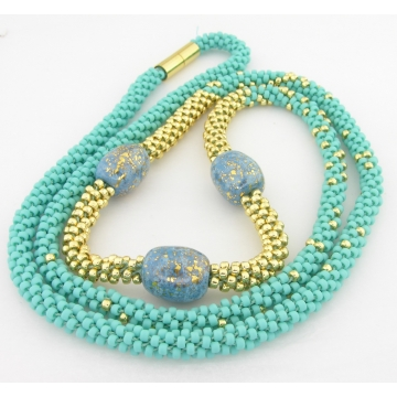 Turquoise and Gold Kumi Necklace - gold turquoise Kazuri ceramic artisan srajd cserpentDesigns