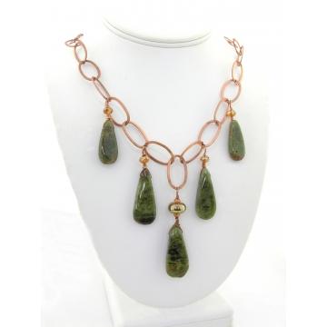 Garnet and Copper Necklace - gold copper swarovski crystals green garnet gemstones drops lampwork artisan srajd cserpentDesigns