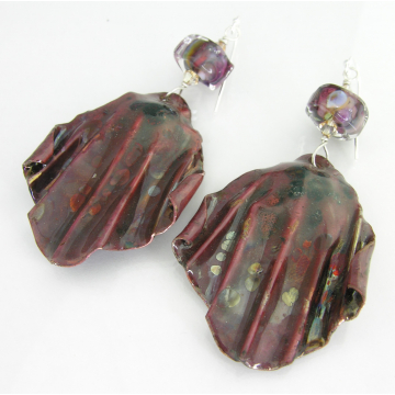 Raku Curtains Earrings - handmade artisan organic lampwork with fold formed copper srajd cserpentDesigns