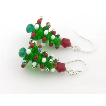 Christmas Tree Earrings - handmade artisan with red gold white star lampwork sterling silver srajd cserpentDesigns