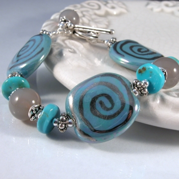 Clouds Over The Ocean Bracelet - turquoise grey bracelet with Kazuri ceramic agate gemstone and sterling silver srajd cserpentDesigns