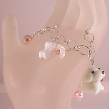 White Dog and Pink Glass Charm Bracelet - handmade artisan white dog bone glass flower Swarovski crystals sterling silver srajd cserpentDesigns