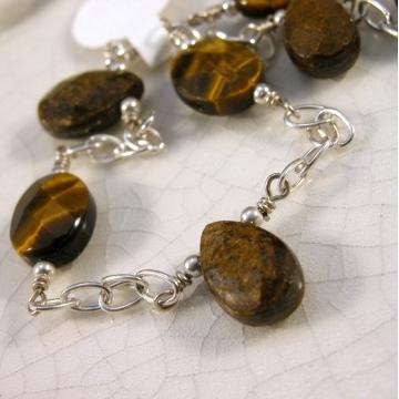 Beautiful Browns Anklet - tiger eye bronzite gemstones sterling silver handmade brown artisan srajd cserpentDesigns