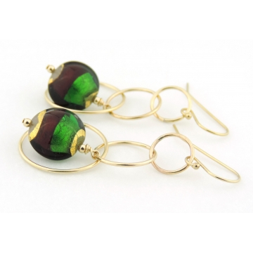 Venetian Christmas Earrings - red green gold Venetian bead dangle rings gold filled handmade artisan srajd cserpentDesigns
