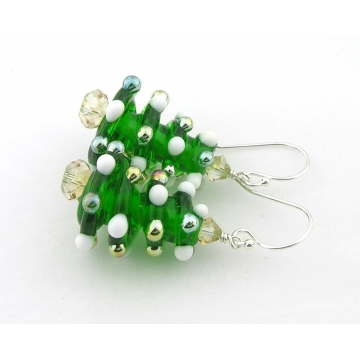 Christmas Tree Earrings - handmade artisan with white gold lampwork golden green crystals sterling silver srajd cserpentDesigns