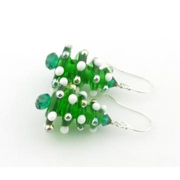 Christmas Tree Earrings - handmade artisan with white gold lampwork sterling silver srajd cserpentDesigns