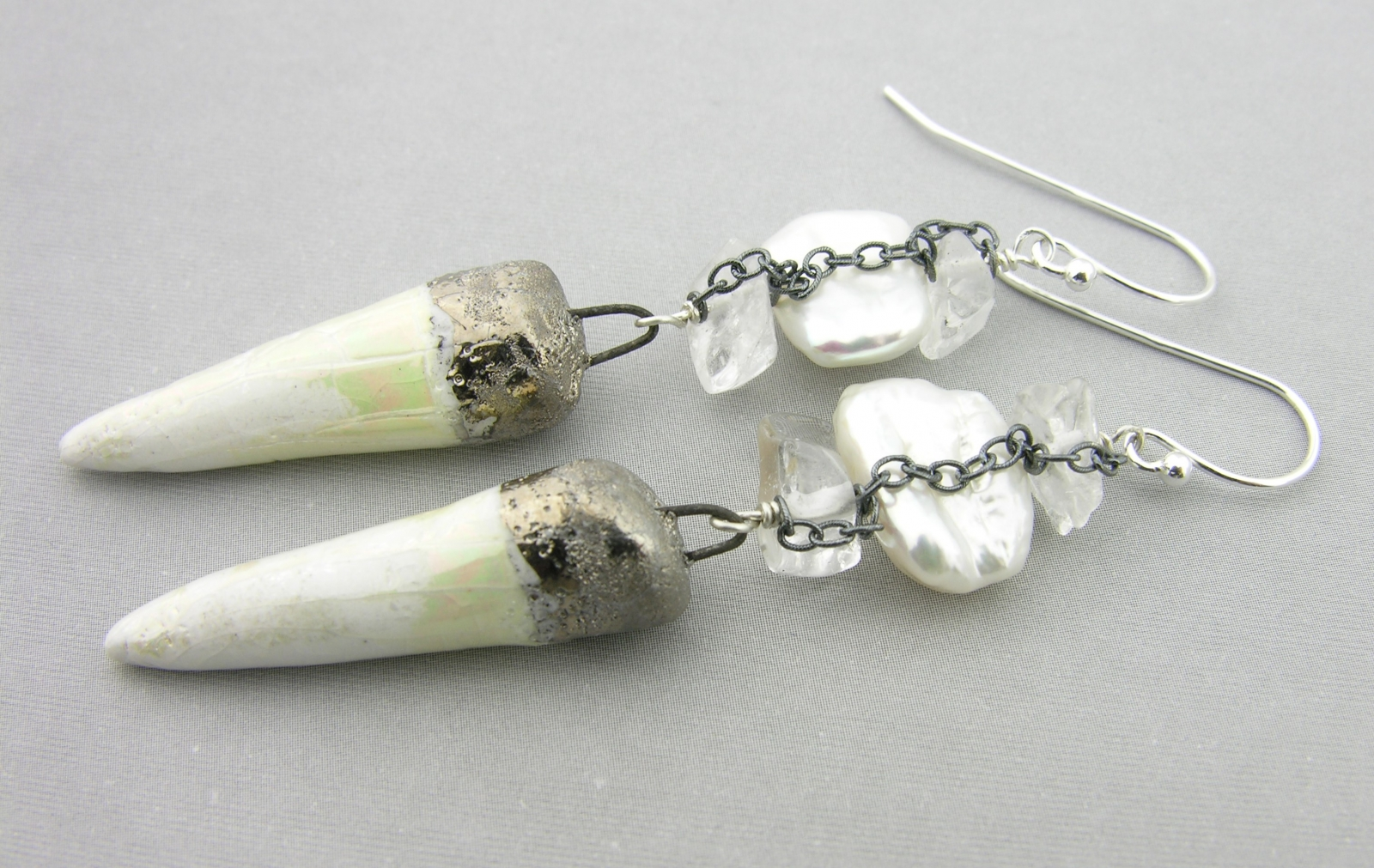 white spike earrings white with freshwater pearl crystal quartz ice