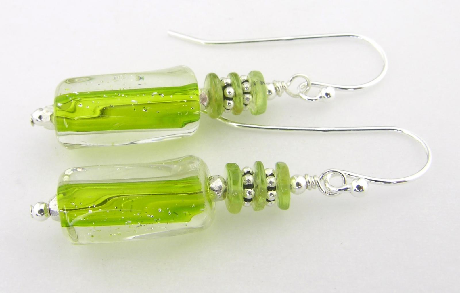 peridot furnace glass earrings