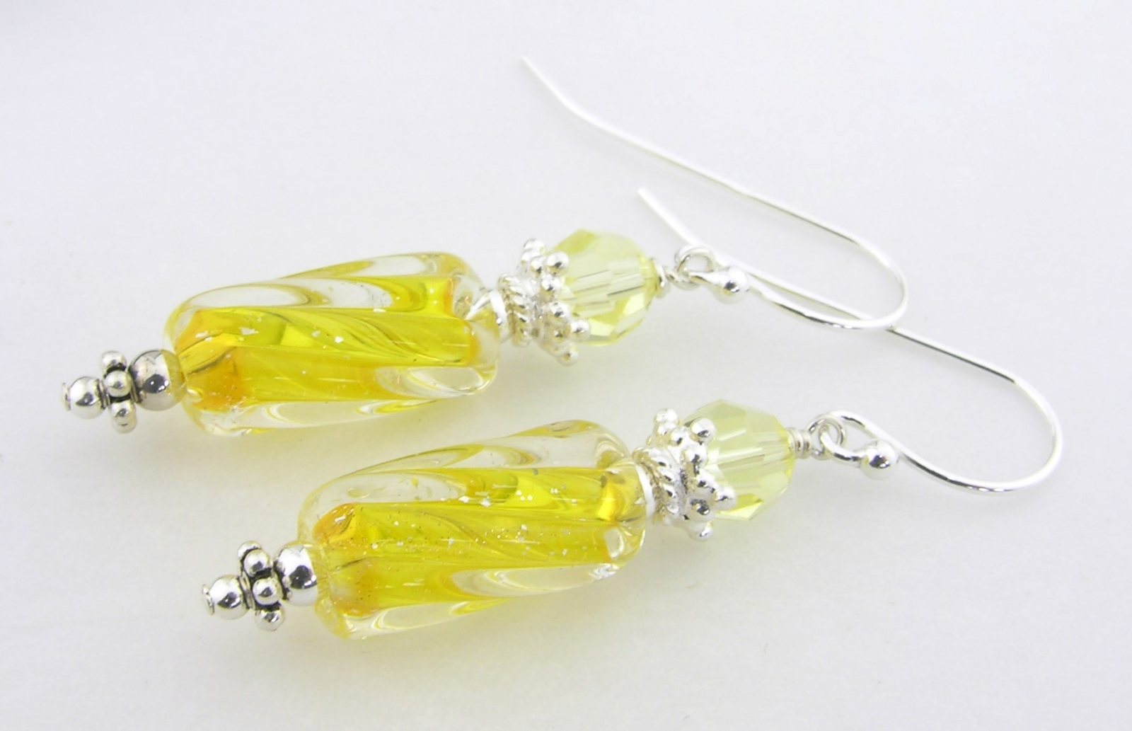 sunshine yellow furnace glass earrings with swarovski crystals sterling silver