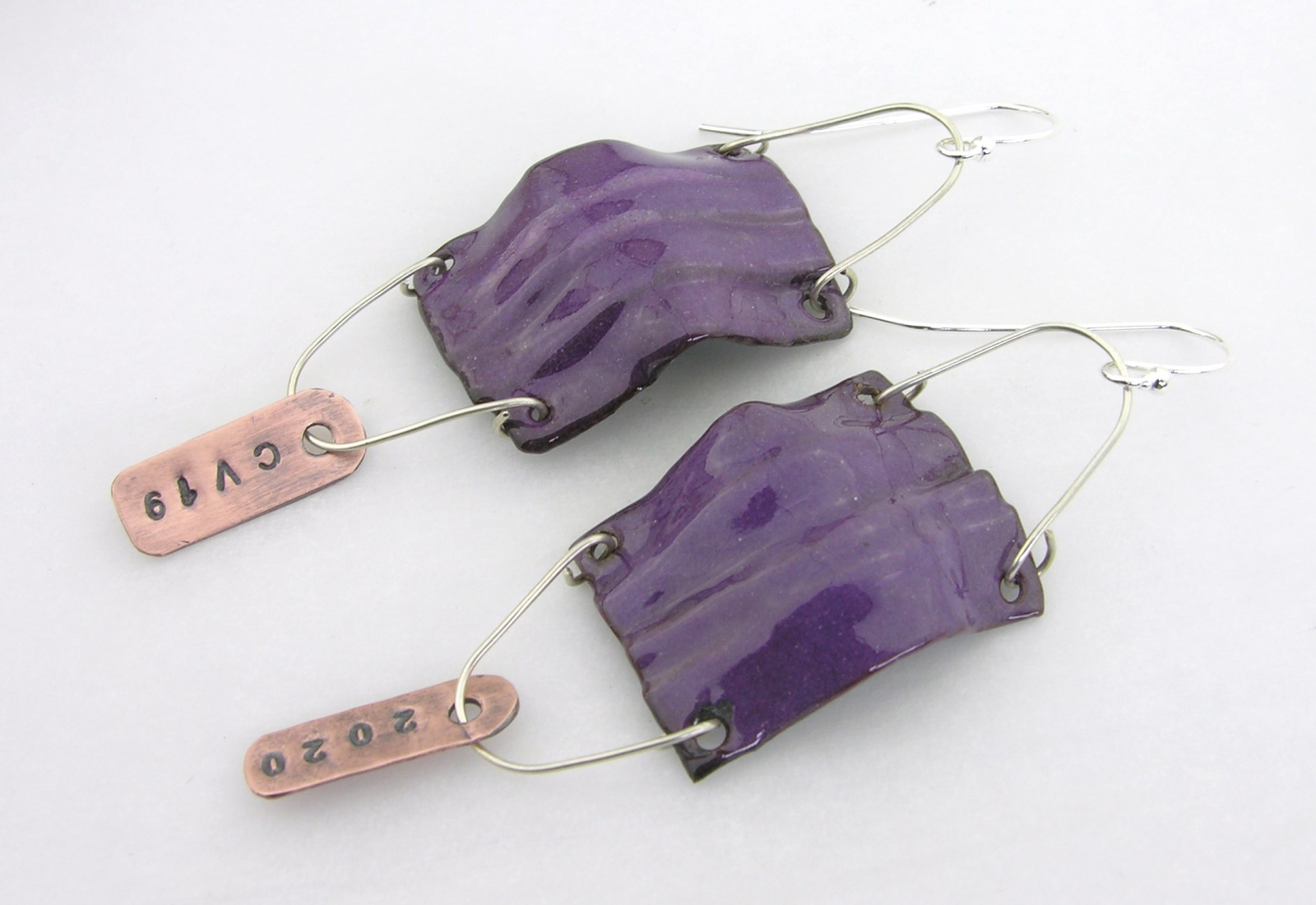 surgical mask earring covid19 corona virus coronavirus sterling silver enamel copper purple