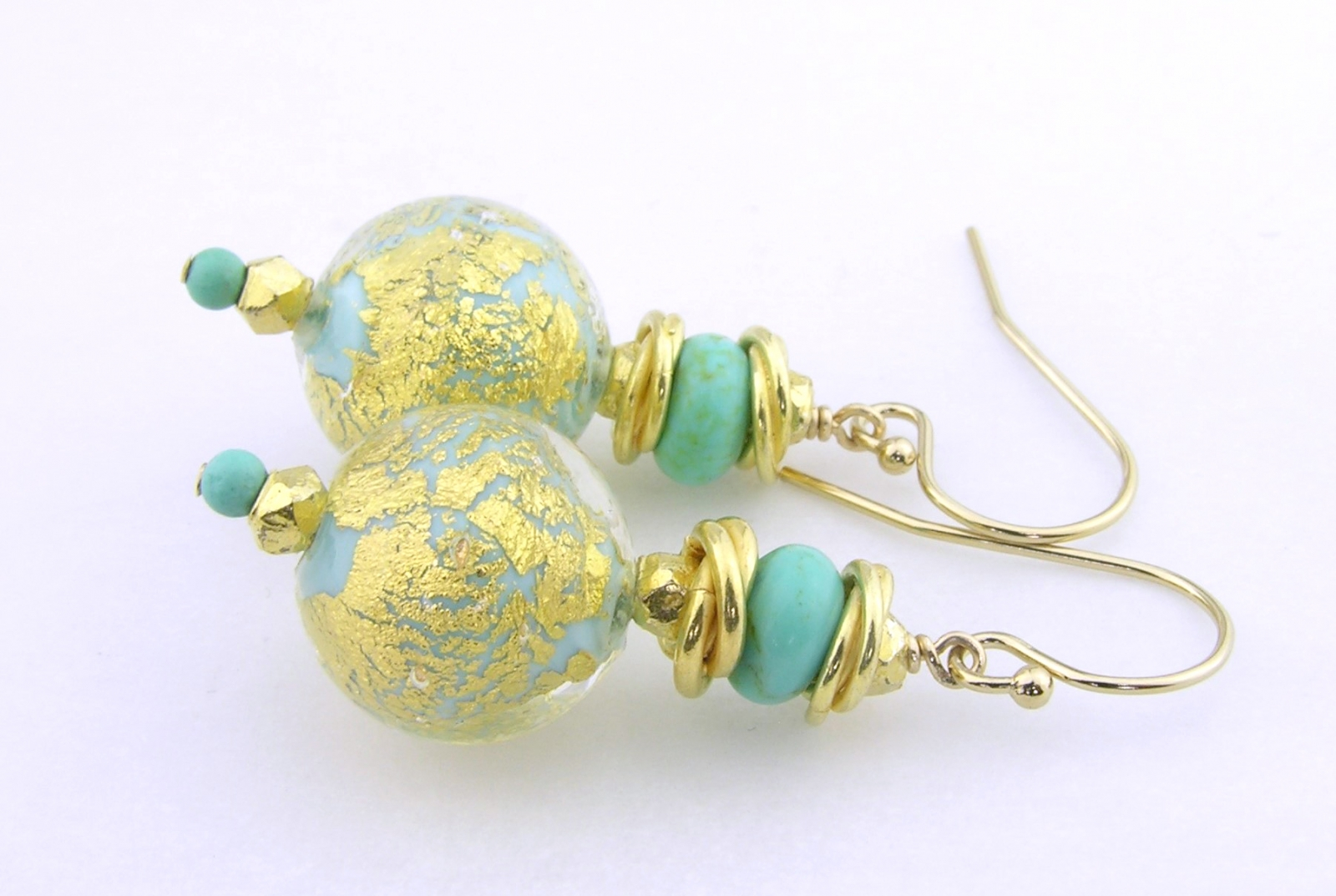 Golden Crackle Earrings - venetian beads with gold leaf, turquoise, gold vermeil and gold fill
