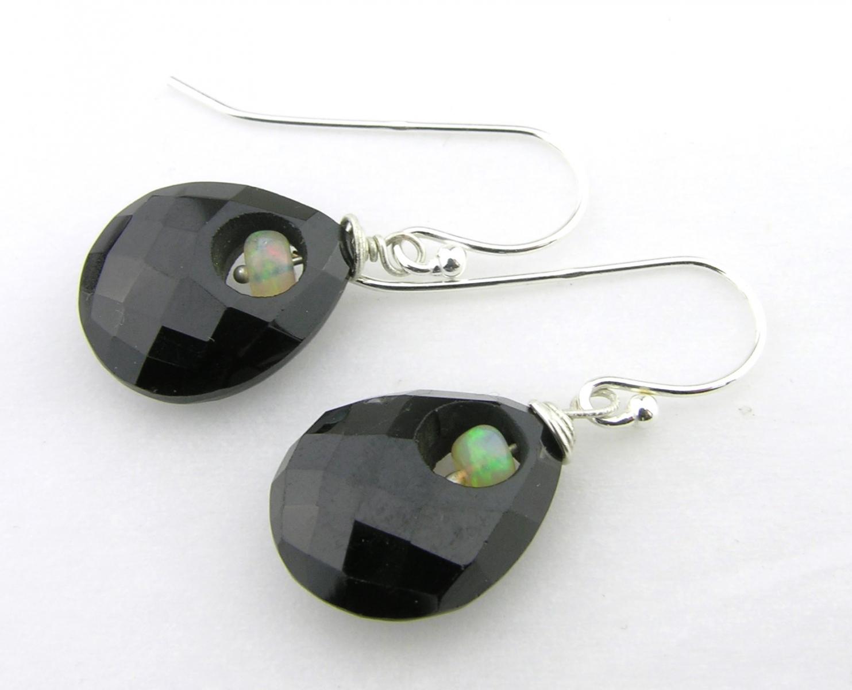 black onyx and ethiopian opal sterling silver earrings