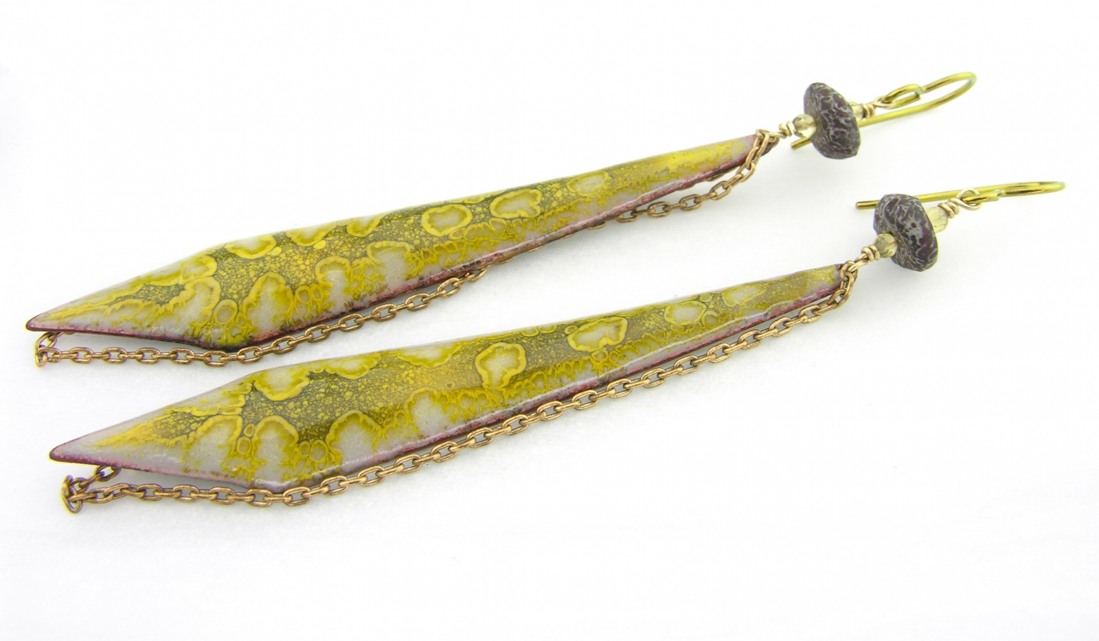 Relics Earrings - dinosaur bone, citrine, enamel on brass and niobium