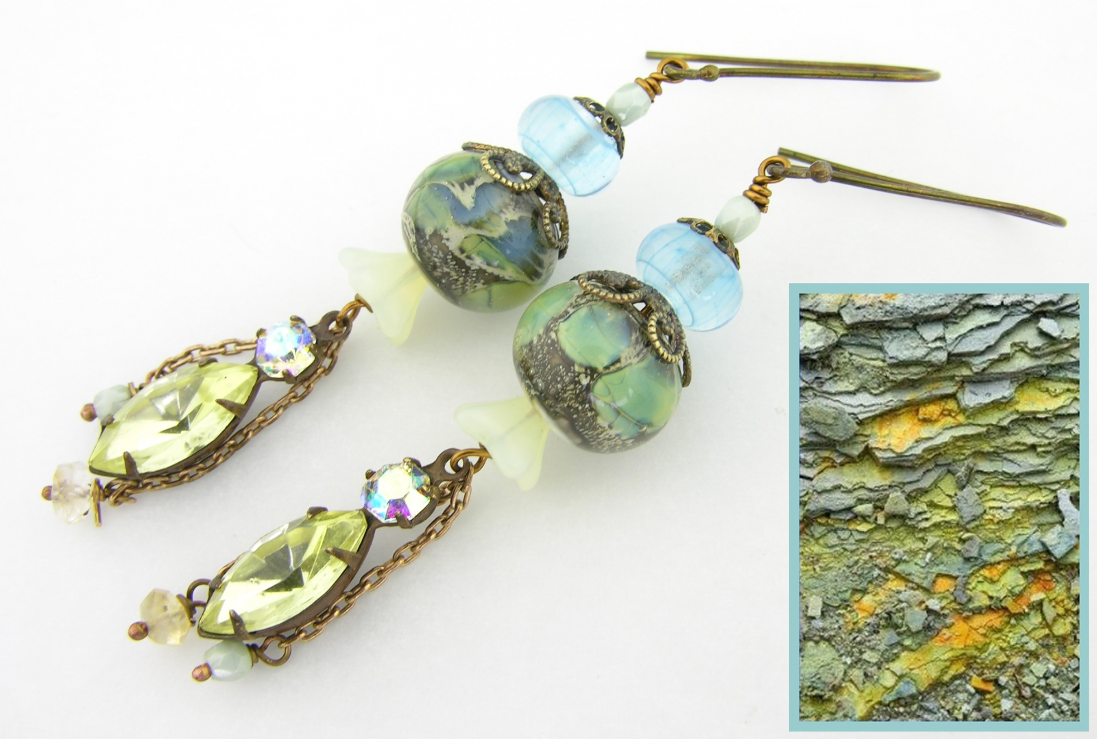 Softly Sulfured Waters Earrings - blue green yellow artisan lampwork, Czech glass, crystal rhinestones, citrine and brass