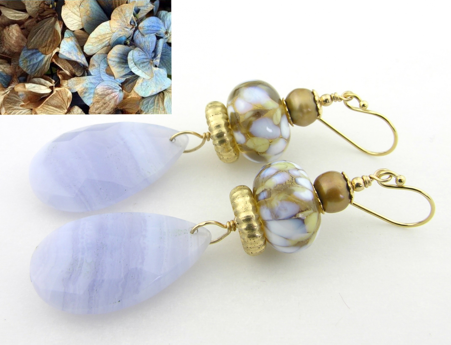 Whispers of Blue Earrings - blue lace agate, light blue, light brown, topaz, white artisan lampwork, freshwater pearls and gold fill
