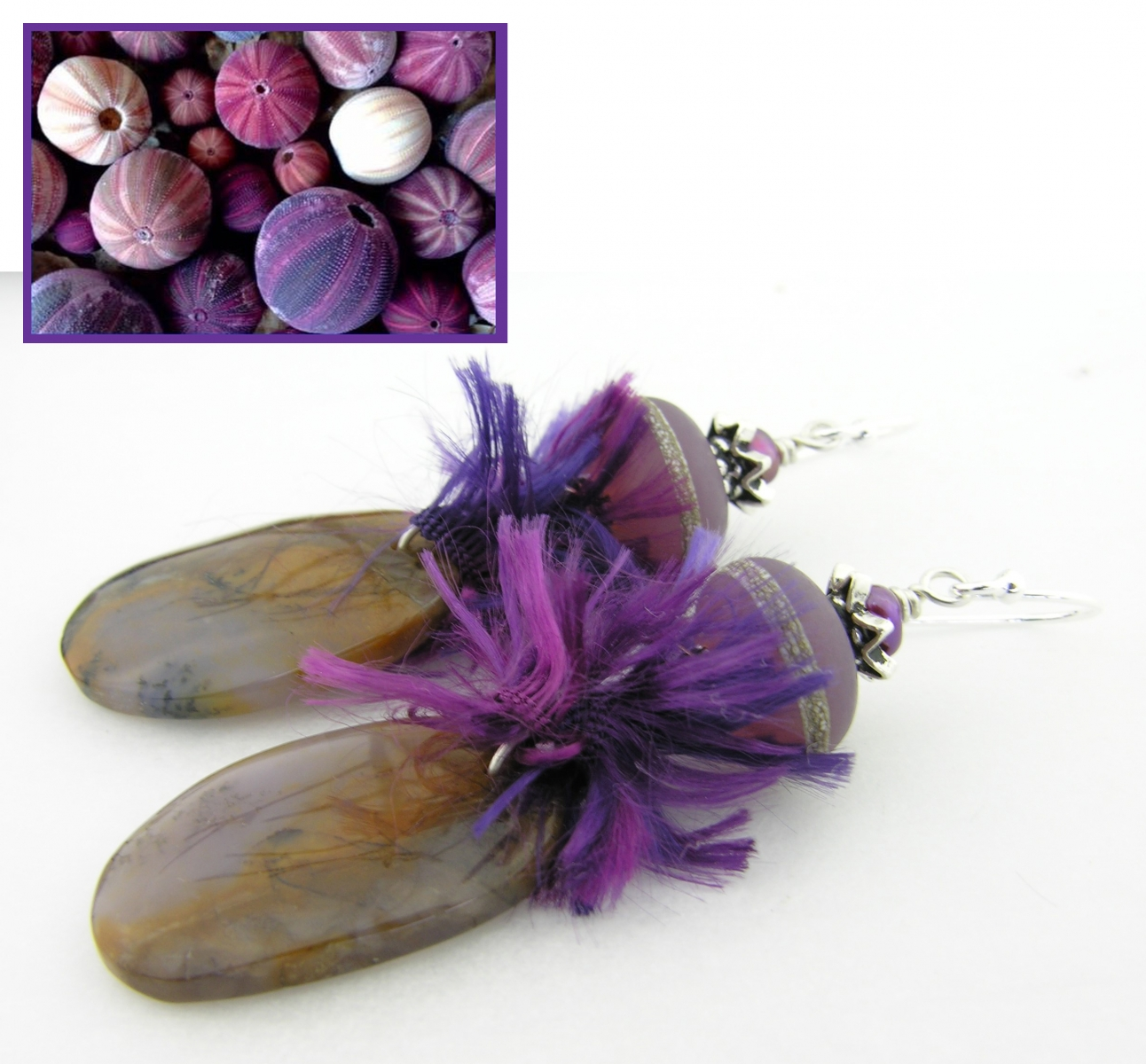 earthy shades earrings purple brown lavendar amethyst sage agate, artisan lampwork freshwater pearls sterling silver handmade