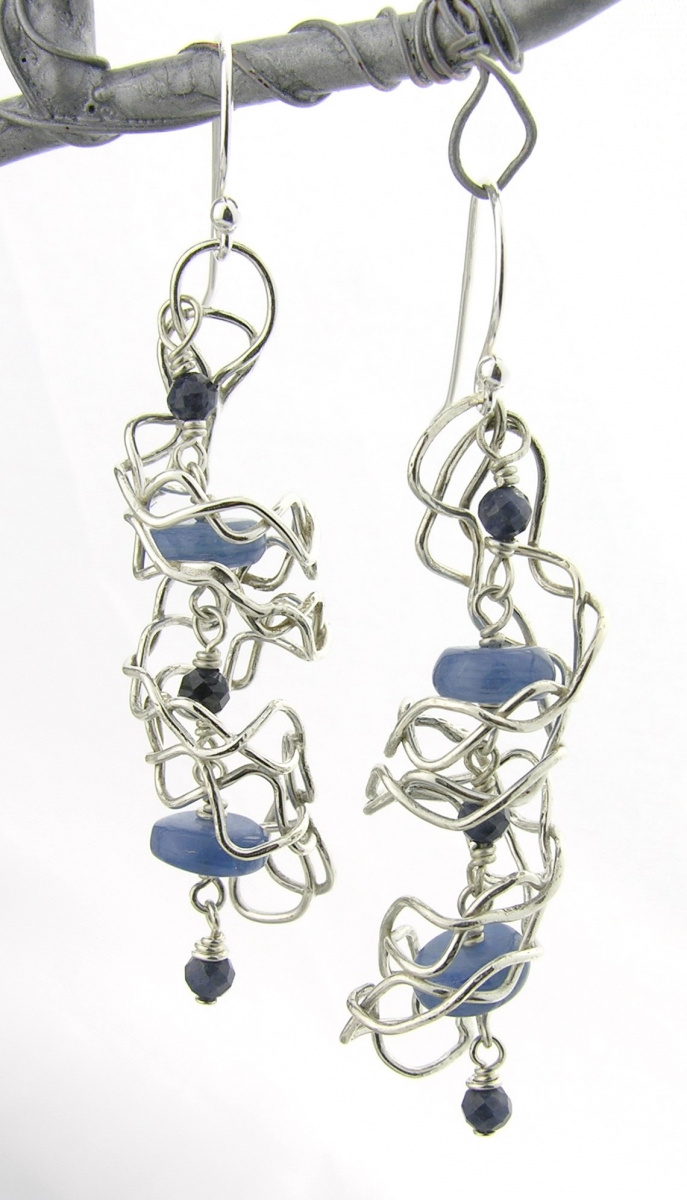 mish mesh spirals and blues earrings twisted halos